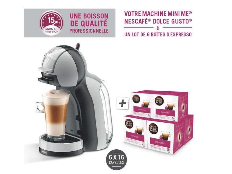Cafetière Nescafé Dolce Gusto Krups Mini Me YY4128FD + 6 Boites de capsules Espresso