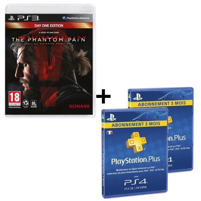 Pack Metal Gear Solid V: The Phantom Pain sur PlayStation 3 + 2 abonnements PlayStation Plus - 3 mois
