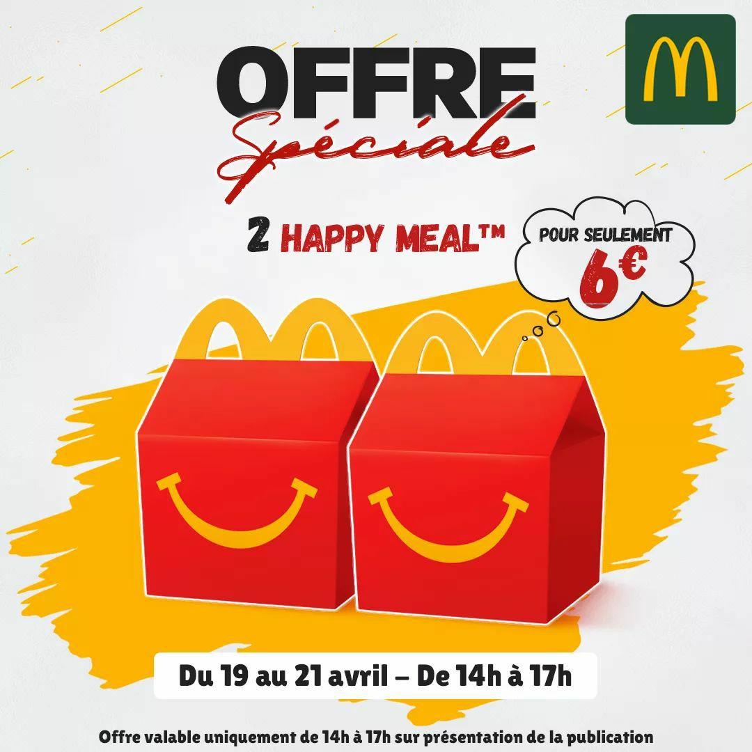 Lot de 2 menus enfant Happy Meal à 6€ de 14h à 17h (Audincourt 25)