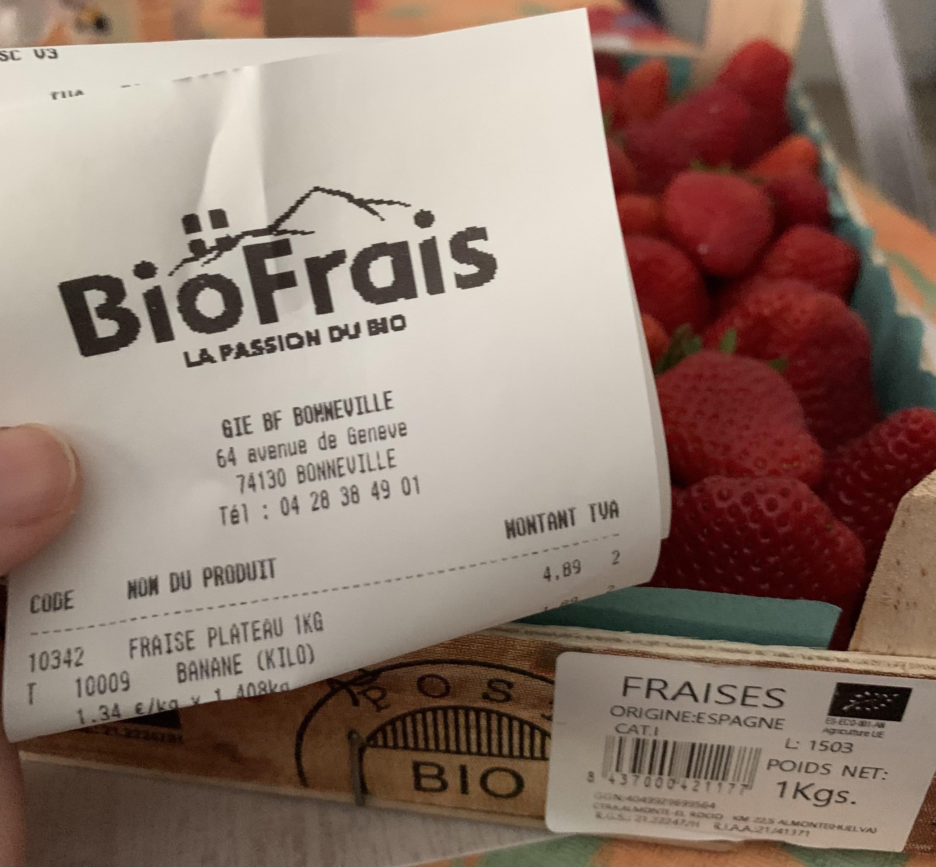 Plateau de 1kg de fraises Bio (Origine Espagne) - Biofrais Bonneville (74)