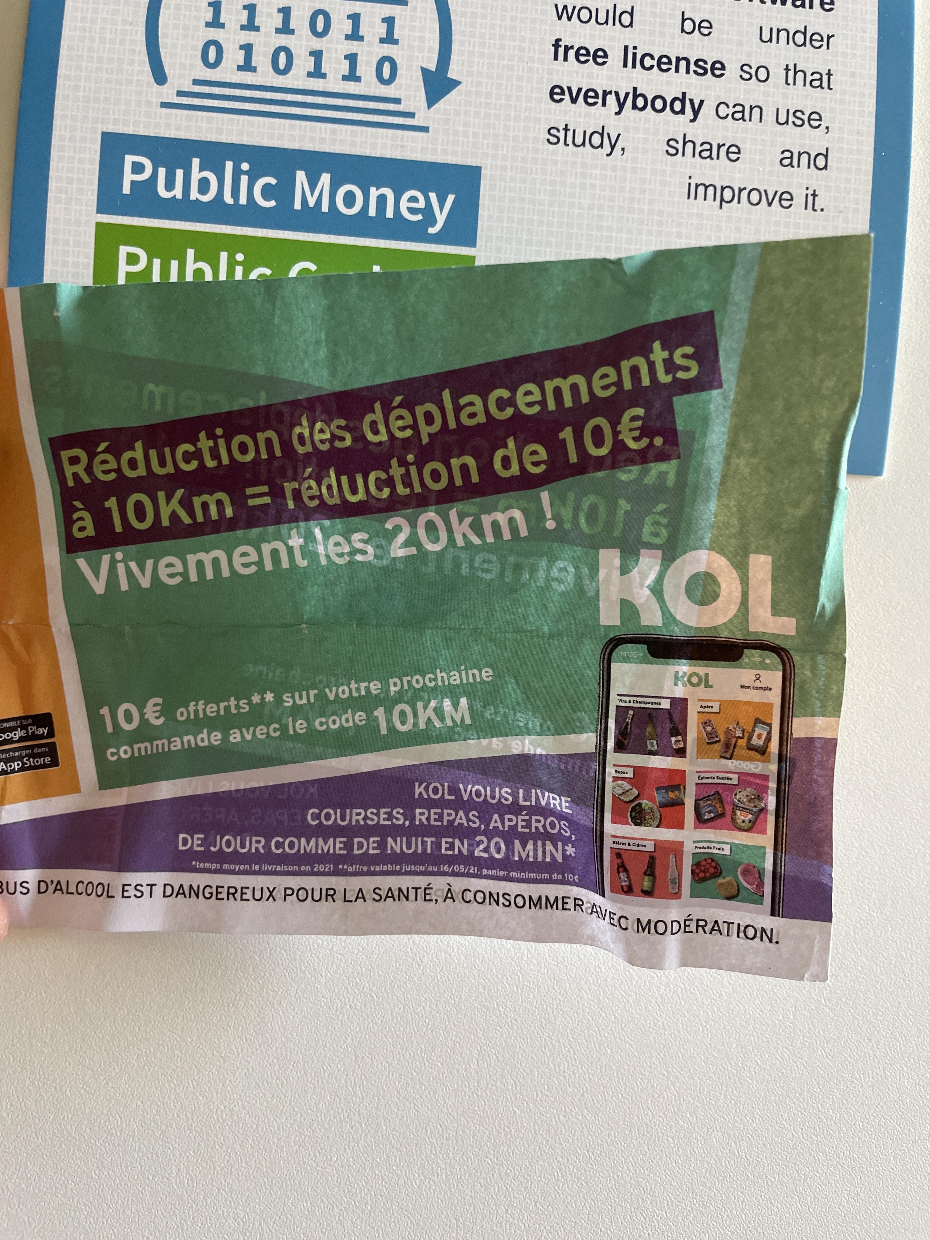 10€ de réduction sur l'application KOL dès 10€ d'achat