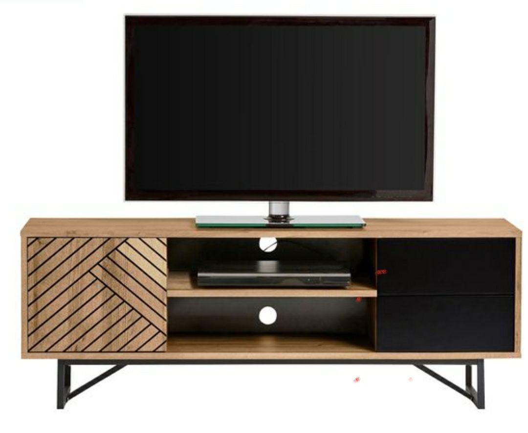 Meuble TV industriel EDEA Imitation chêne et Noir - 140x56x39cm