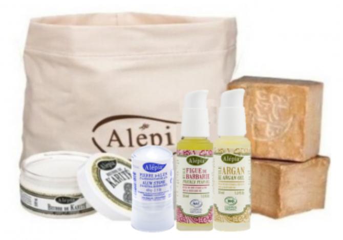Trousse de découverte Alepia - 1 beurre de karité, 1 pierre d'Alun, 1 huile de graines de figue, 1 huile d'argan, 2 savons, 1 trousse