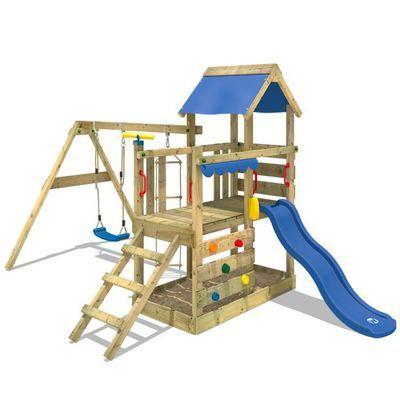 Aire de jeux WICKEY - Portique bois TurboFlyer avec balançoire, toboggan bleu et avec bac à sable (Vendeur Tiers)