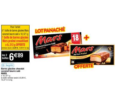 Sélection de produits en promotion - Ex : 1 Boîte de crème glacé caramel beurre salé Mars acheté + 1 Boite mars glacé croustillant offerte