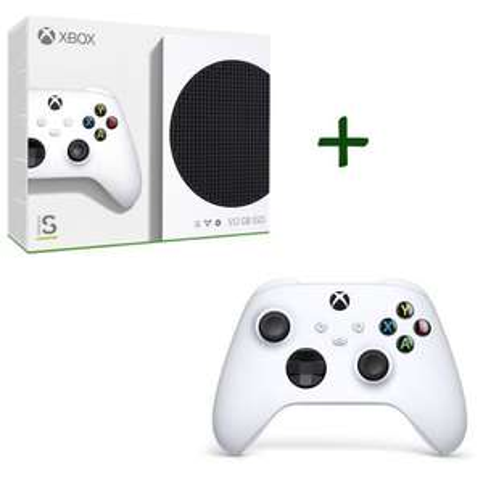 Pack Console Microsoft Xbox Serie S + 2ème Manette Xbox Series sans fil - Blanche