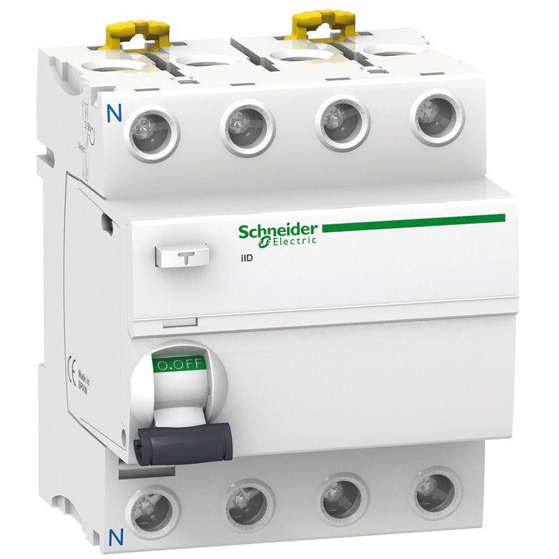 Interrupteur différentiel SCHNEIDER A9R11440 - Acti9 iID, 4P, 40A, 30mA, type AC