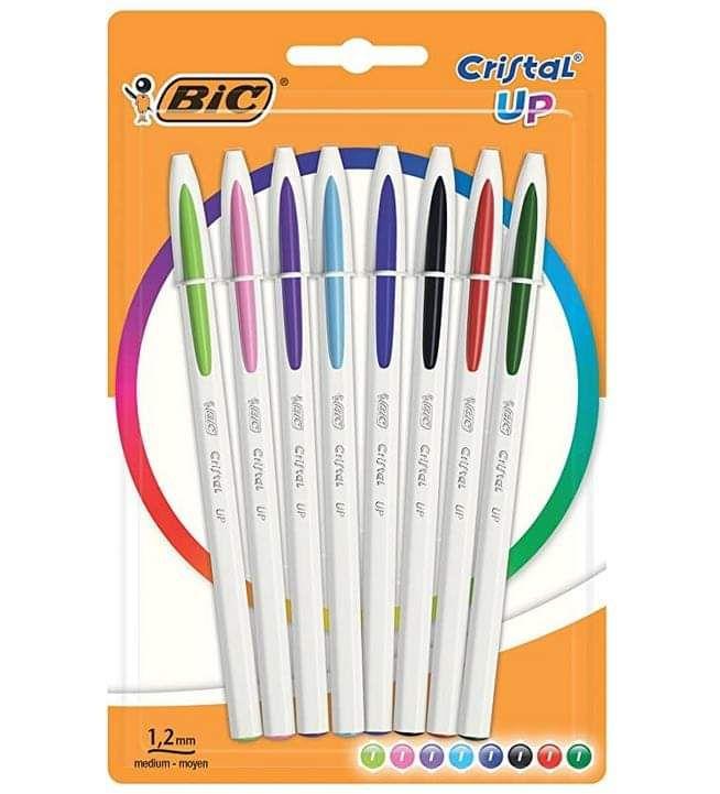 Lot de 8 Stylos BIC Cristal Up - Couleurs Assorties