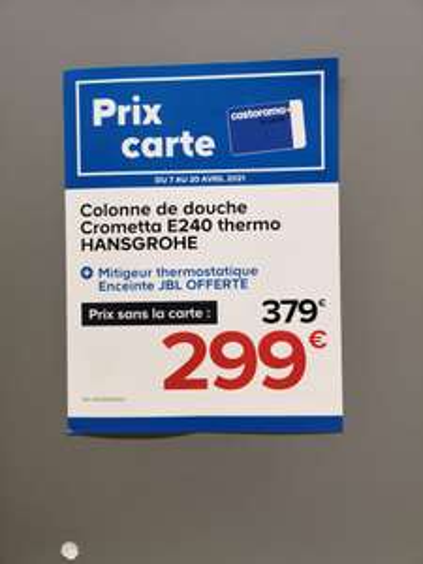 [Carte Castorama] Colonne de douche thermostatique Hansgrohe Crometta E240 + Enceinte JBL Go 2 - L'Union (31)