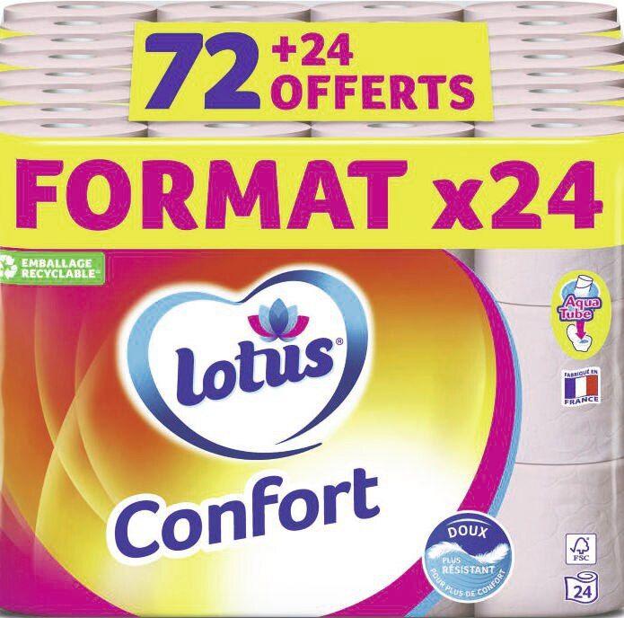 Paquet de 96 rouleaux de papier toilette Lotus Confort Aquatube