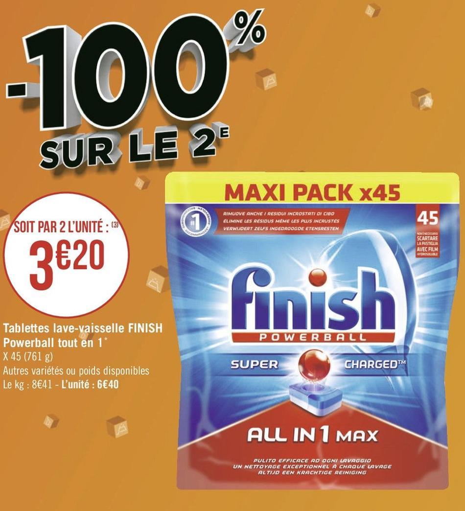 Lot de 2 Paquets de 45 tablettes lave vaisselle Finish PowerBall All In 1 Max (Différentes variétés)