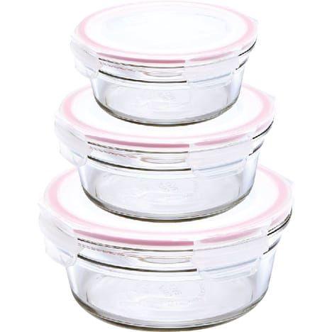 Lot de 3 boîtes rondes en verre (450ml, 850ml et 1480ml)