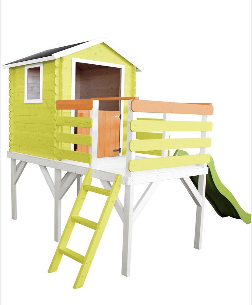 Cabane sur pilotis avec toboggan pour enfants Alice (soulet.com)