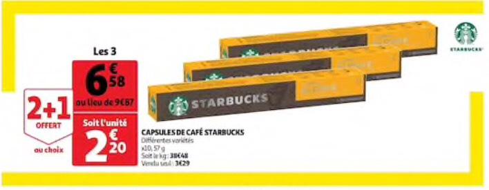 3 Paquets de Capsules de café Starbucks - 3 x 10