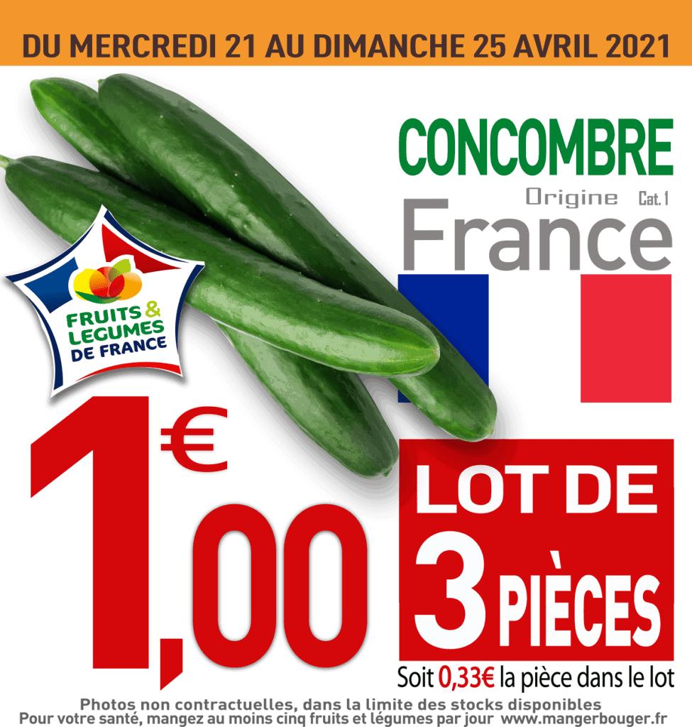 Lot de 3 concombres - Catégorie 1 (Origine France)