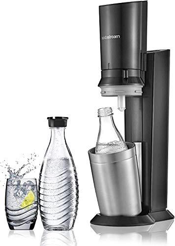 Machine à gazéifier l'eau SodaStream Crystal en Alu Brossé Gris/Noir + 2 Carafes en Verre (0.6L)