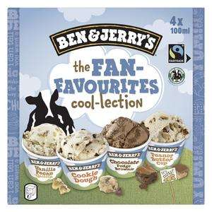 2 Packs de 4 Mini-pots de glace Ben & Jerry's The Fan Favourites coo-lection - Différentes Variétés