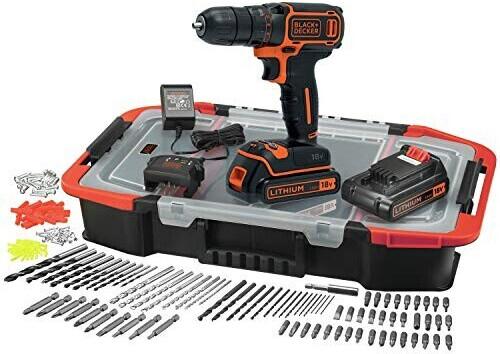 Coffret perceuse sans-fil Black + Decker BDCDC18BAST-QW (18 V) - avec 2 batteries (1.5 Ah) + chargeur + 160 accessoires