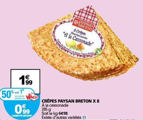 Lot de 2 paquets de 8 Crêpes Paysan Breton (via carte de fidélité + BDR)