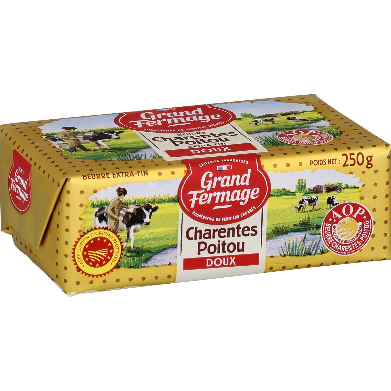 Lot de 3 plaquettes de beurre Charentes-Poitou AOP - 3 x 250g, Doux ou Demi-sel