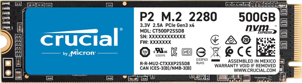 SSD interne M.2 NVMe Crucial P2 (CT500P2SSD8) - 500 Go + 1 mois d'abonnement Xbox Game Pass
