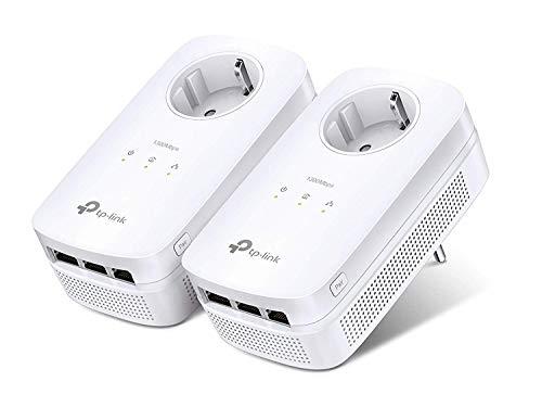 Pack de 2 Adaptateurs CPL TP-Link TL-PA8030P - 1300 Mbps, 3 Ports Ethernet Gigabit, Prise Intégrée