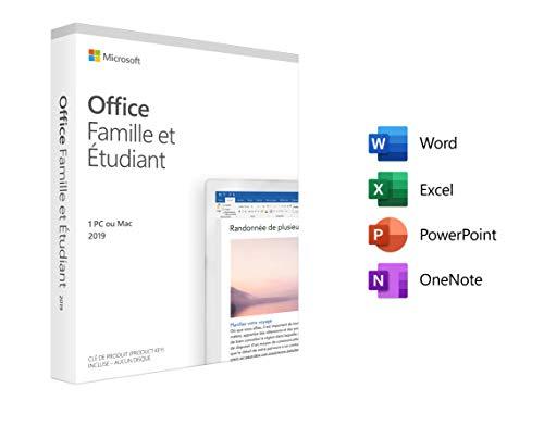 Logiciel Microsoft Office Famille & Étudiant 2019 sur PC et Mac - 1 Appareil, À Vie