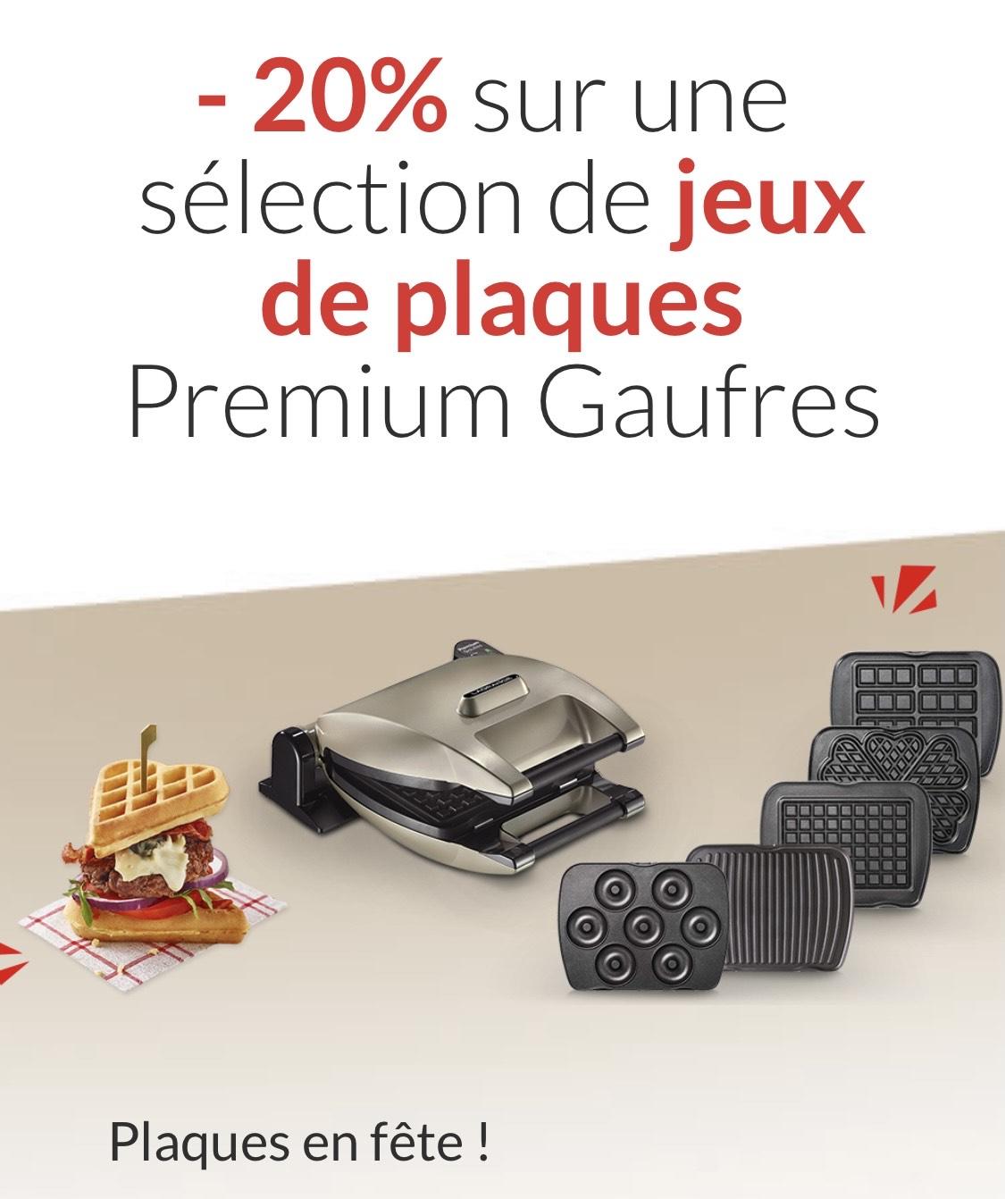 20% de réduction sur une sélection de jeux de plaques pour gaufrier - lagrange.fr