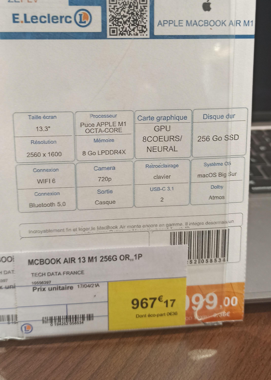 "PC Portable 13.3"" MacBook Air 2020 - Retina, Apple M1, 8 Go RAM, 256 Go SSD - Vandoeuvre (54)"