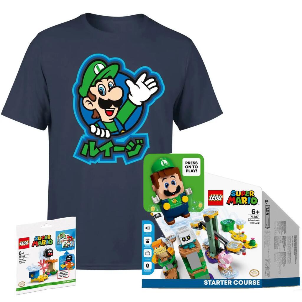 [Pré-commande] Lot tee-shirt Luigi (enfants, femme ou homme) & jouet Lego Super Mario Luigi Adventures (71387)