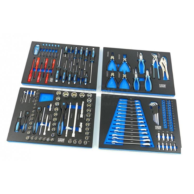 Lot d'outils avec rangement pour servante HBM Premium (154 pièces) - ToolSidee.fr