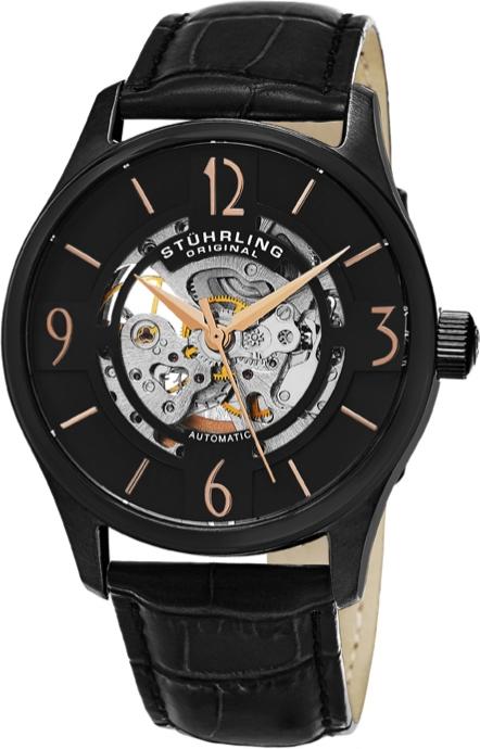 Montre automatique Stürling - bracelet en cuir, noir