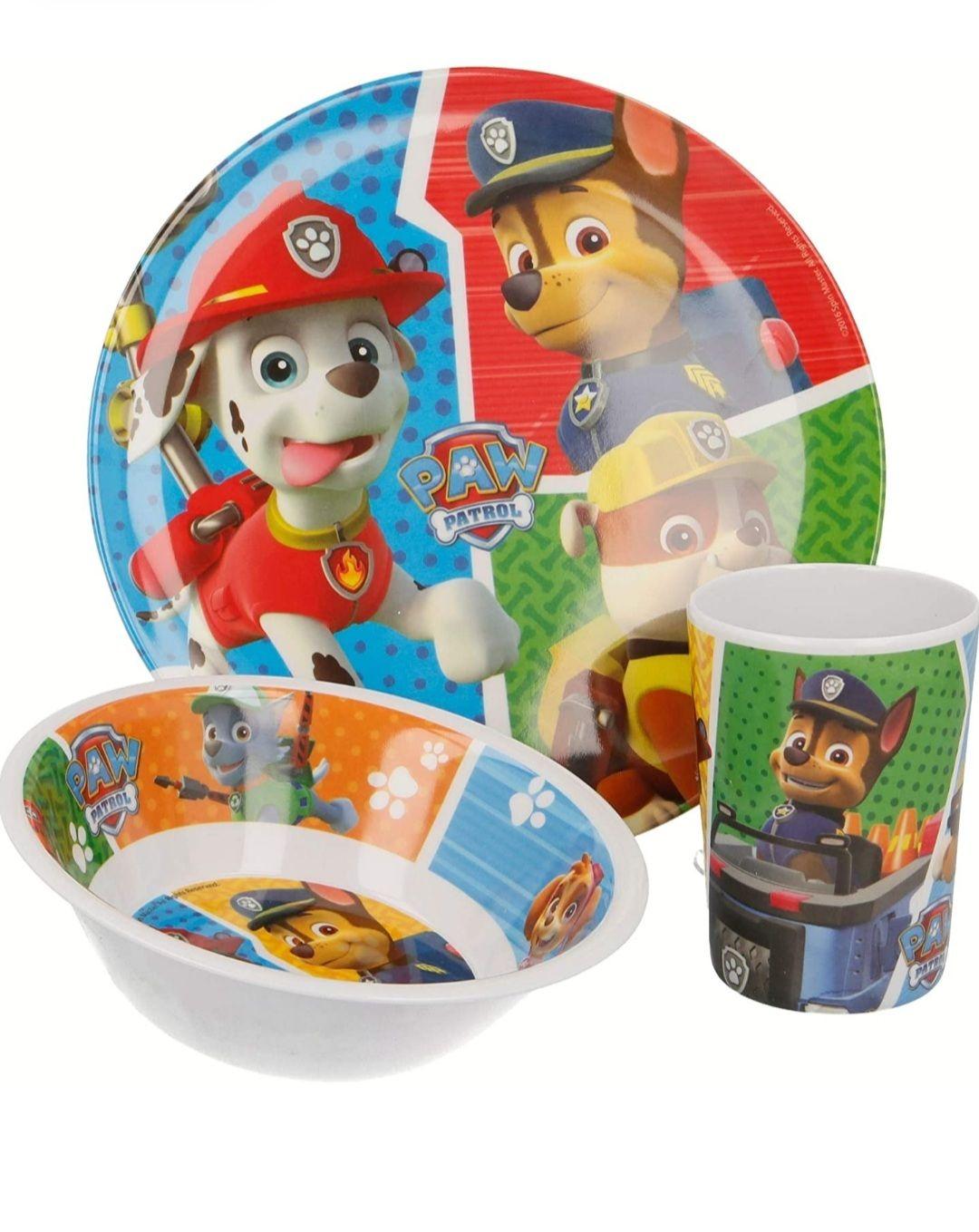 Set de vaisselle en mélamine 3 pièces Pat patrouille - Assiette, bol et verre (Vendeur tiers)