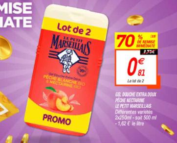 Lot de 2 gels douche Le Petit Marseillais - 2x250ml