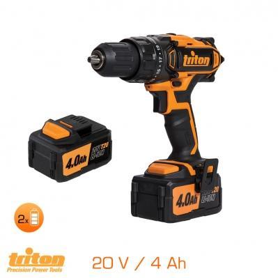 Coffret Perceuse visseuse Triton 20V avec 2 batteries 4Ah LED + chargeur