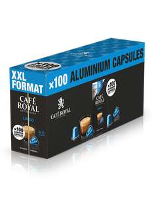 Paquet de 100 dosettes de café compatible Nespresso Café Royal Lungo ou Lungo Forte XXXL