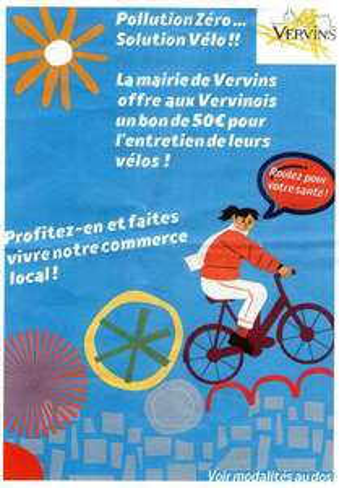 [Habitants de Vervins] 50€ de réduction pour la réparation ou l'entretien d'un vélo dans un magasin participant - Vervins (02)