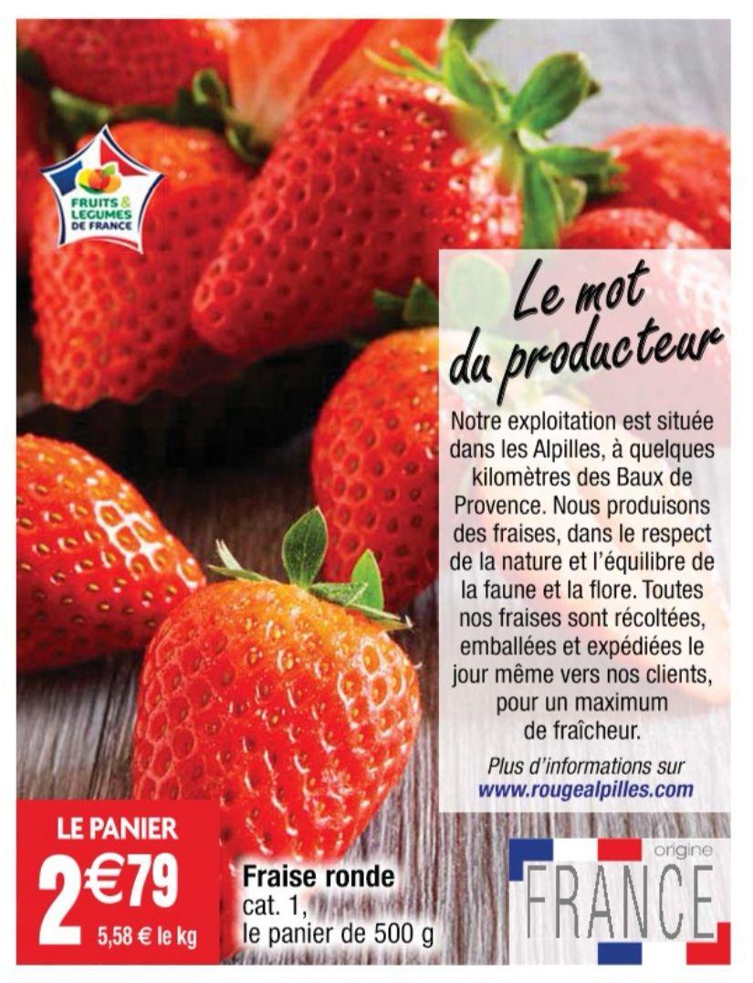 Barquette de fraises rondes - cat. 1, origine France, 500 g