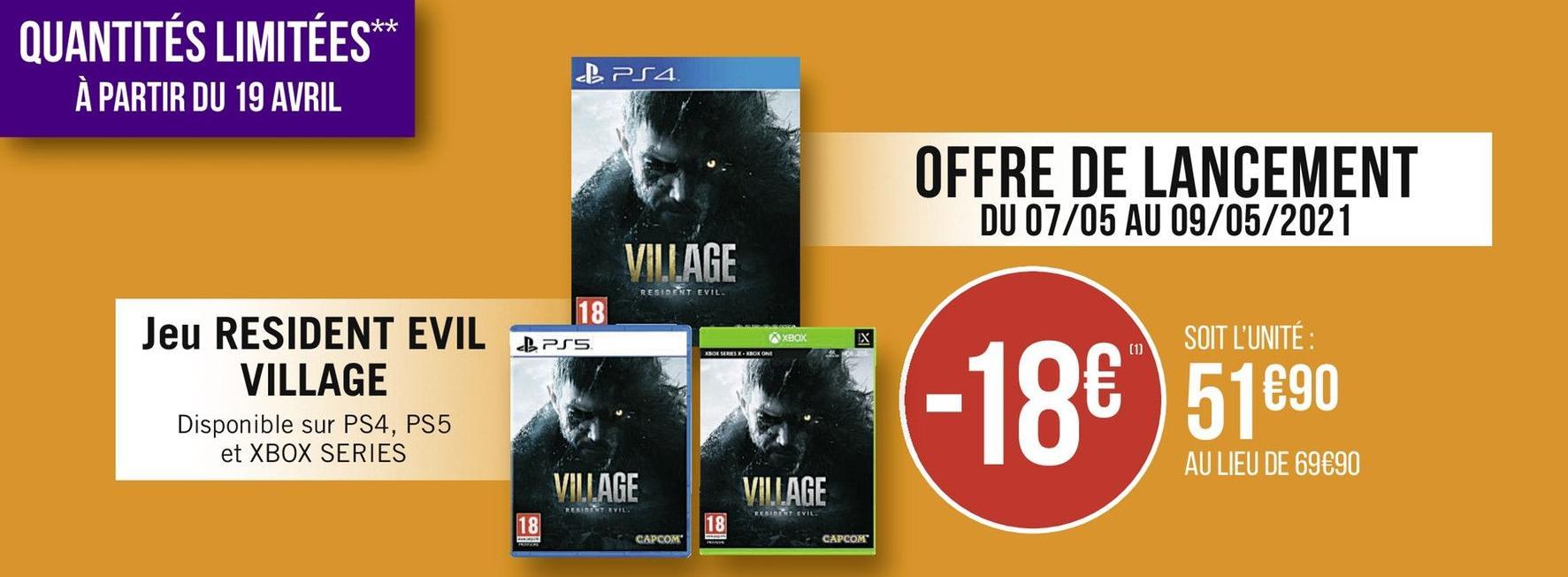 Resident Evil Village sur PS4, PS5 & Xbox Series S/X