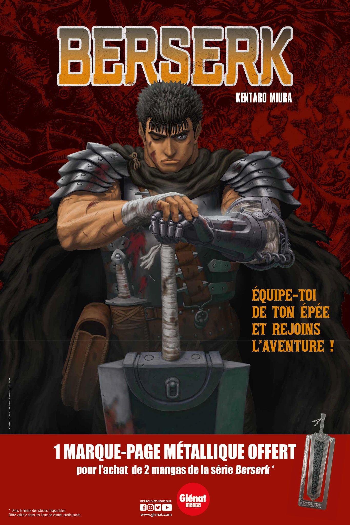 Un marque-page métallique offert pour l'achat de deux tomes de mangas Berserk - en librairies participantes