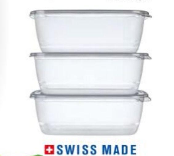 Lot de 3 boîtes de conservation avec couvercle Swiss Made - 3x 1.9L