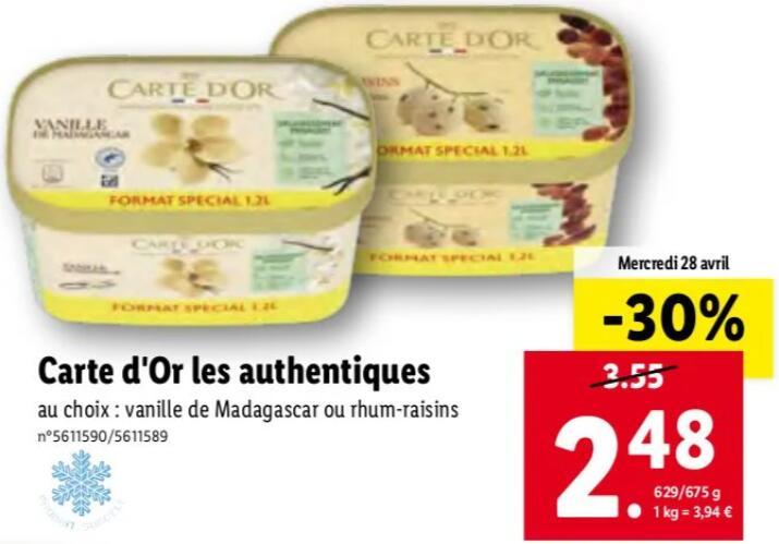Pot de crème glacée Carte d'Or Les Authentiques Vanille de Madagascar ou Rhum-raisins - 1.2 L