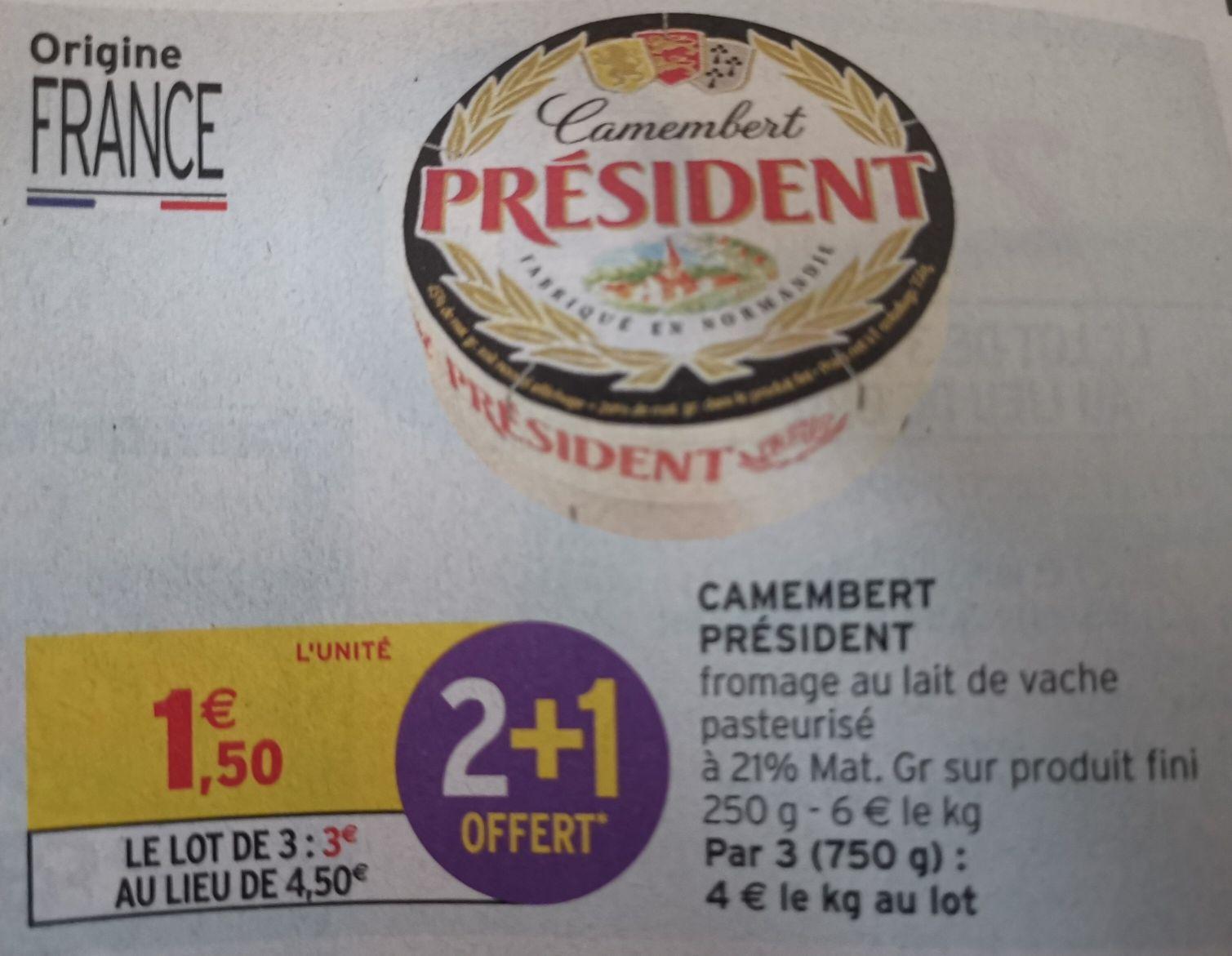 Lot de 3 fromages camemberts Président - 3x250 g