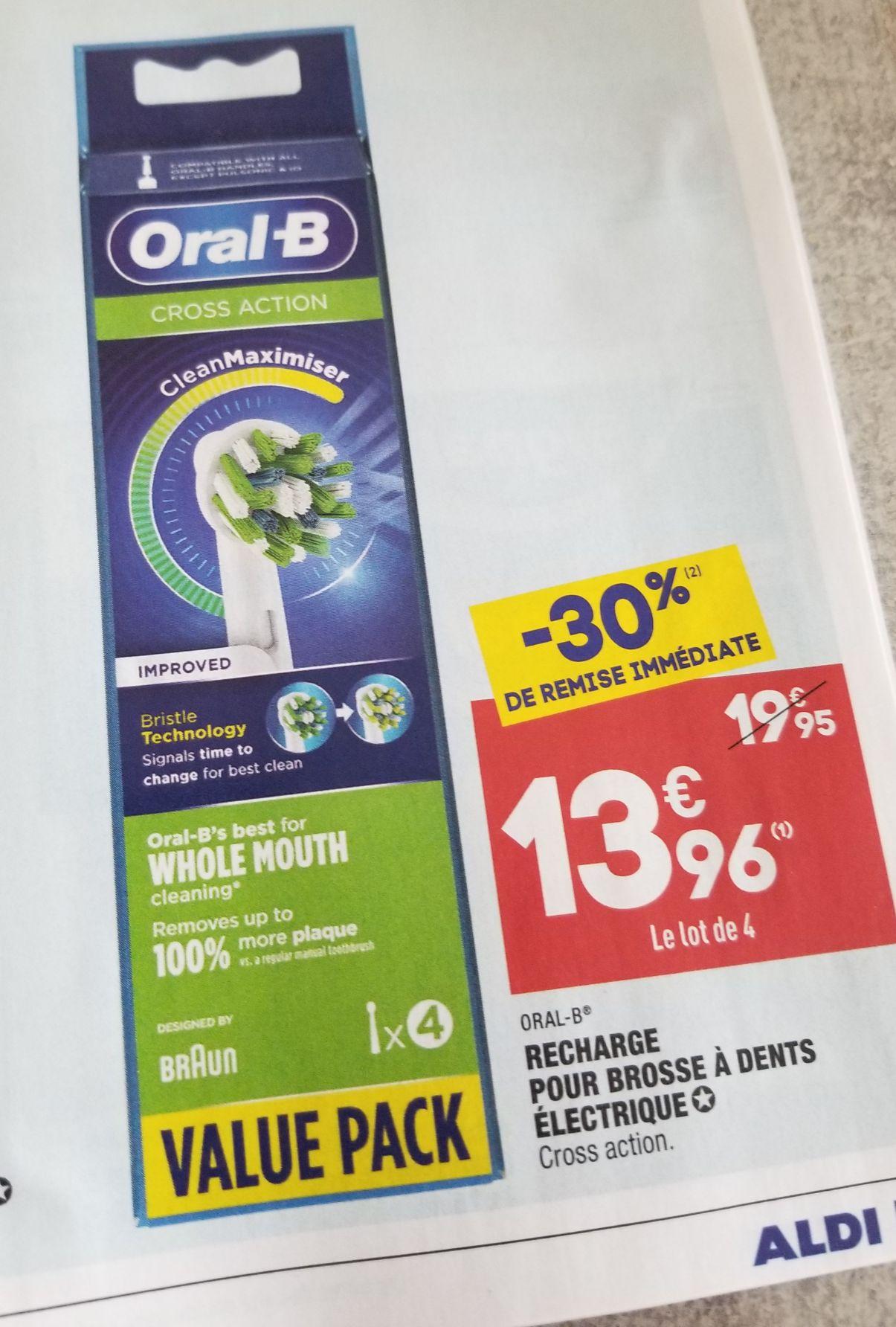Paquet de 4 Têtes de brosse à dents électrique Oral-B Cross Action