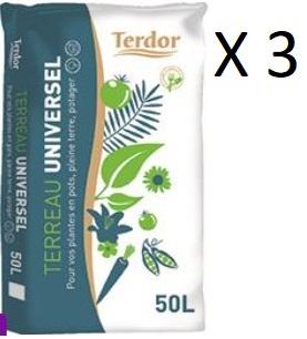 Lot de 3 sacs de 50 litres de terreau universel Terdor (3 x 50 litres) - La Chatre (36)