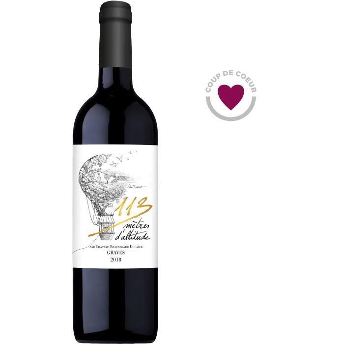 Bouteille de vin rouge Bordeaux Graves Château Beauregard Ducasse 113 Mètres d'Altitude 2018 - 75 cl