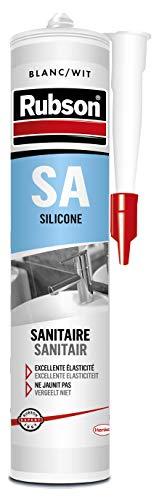 Mastic silicone sanitaire étanche Rubson SA - Blanc, 300 ml