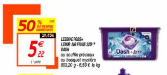Boite de 32 capsules de Lessive Dash & Lenor Pods+ - plusieurs variétés (via BDR)