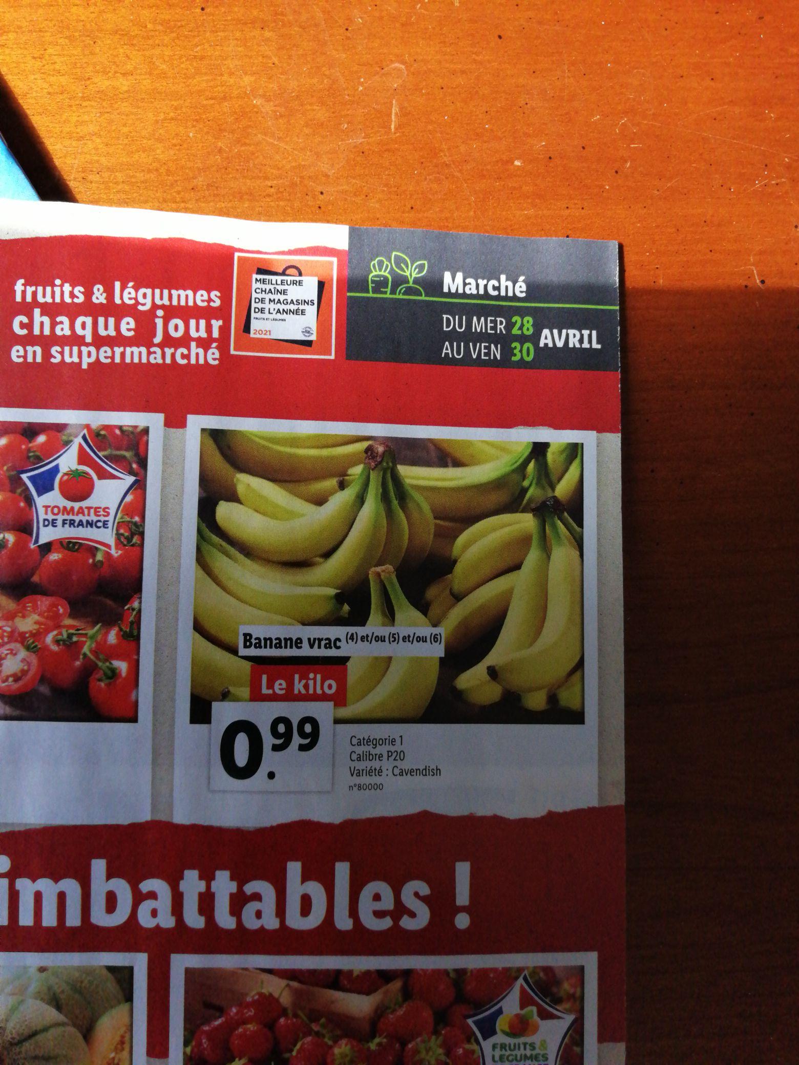 Bananes Cavendish - Catégorie 1, Origine Amérique Centrale ou Afrique ou Antilles françaises (le kilo)