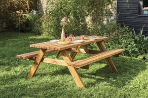 Table forestière en pin autoclave avec bancs rabattables - 177 x 154 x 74 cm